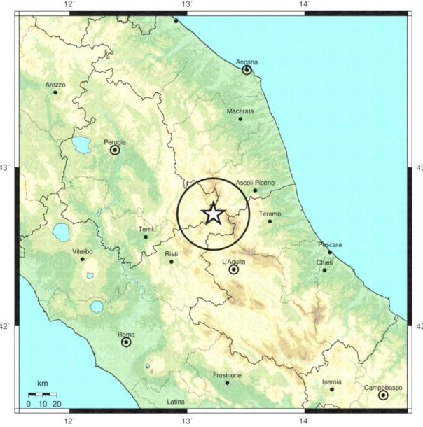 L'epicentro del terremoto di questa notte tra le province di Rieti e Ascoli.