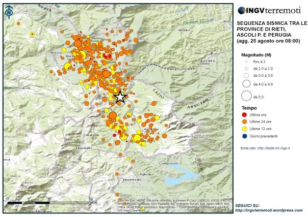 Eventi sismici localizzati dalle ore 03:36 alle ore 08.00 italiane del 25 agosto tra le province di Rieti, Perugia, Ascoli Piceno, L'Aquila e Teramo. La stella bianca è il terremoto di magnitudo 6.0 avvenuto alle 03.36 del 24 agosto.