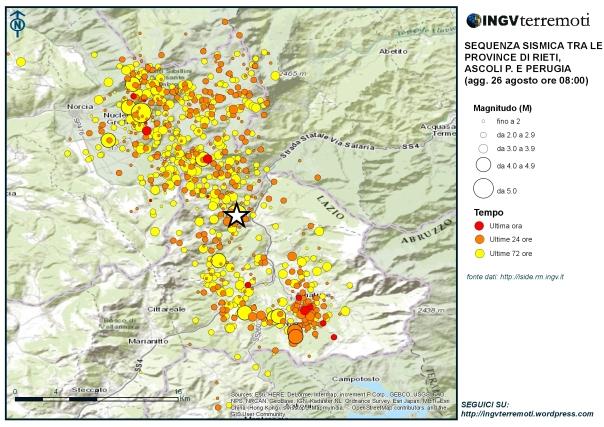 Eventi sismici localizzati dalle ore 03:36 alle ore 08.00 italiane del 26 agosto tra le province di Rieti, Perugia, Ascoli Piceno, L'Aquila e Teramo. La stella bianca è il terremoto di magnitudo 6.0 avvenuto alle 03.36 del 24 agosto.