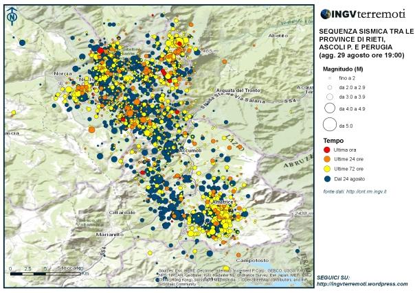 La mappa della sequenza sismica aggiornata al 29 agosto alle ore 19:00.