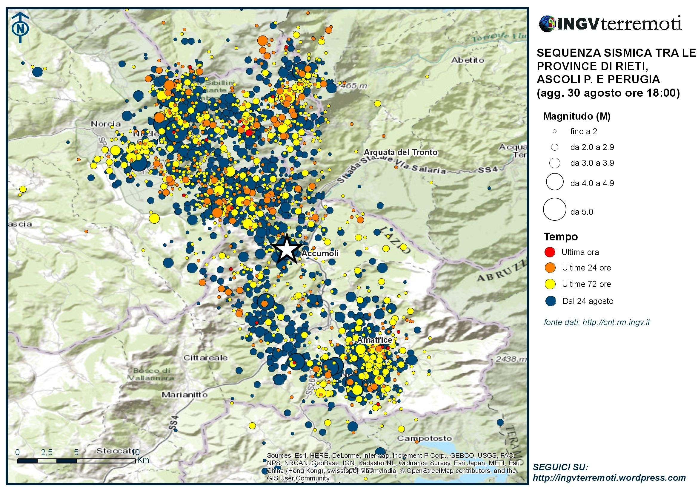 Sequenza sismica province di Rieti, Perugia, Ascoli P., L'Aquila e Teramo: aggiornamento ore 18.00 – 30 agosto