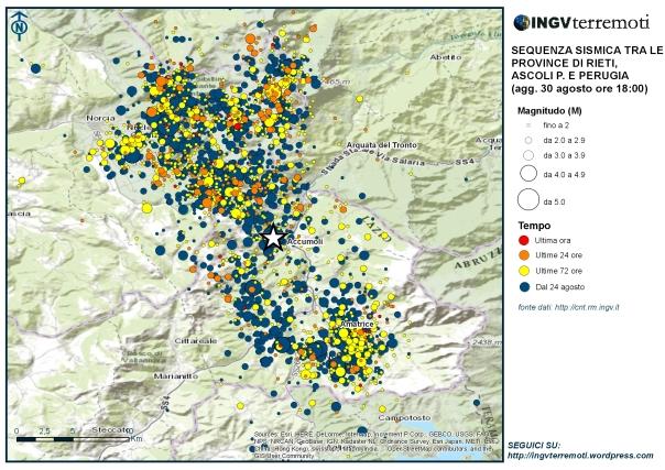 La mappa della sequenza aggiornata alle ore 18 italiane del 30 agosto.