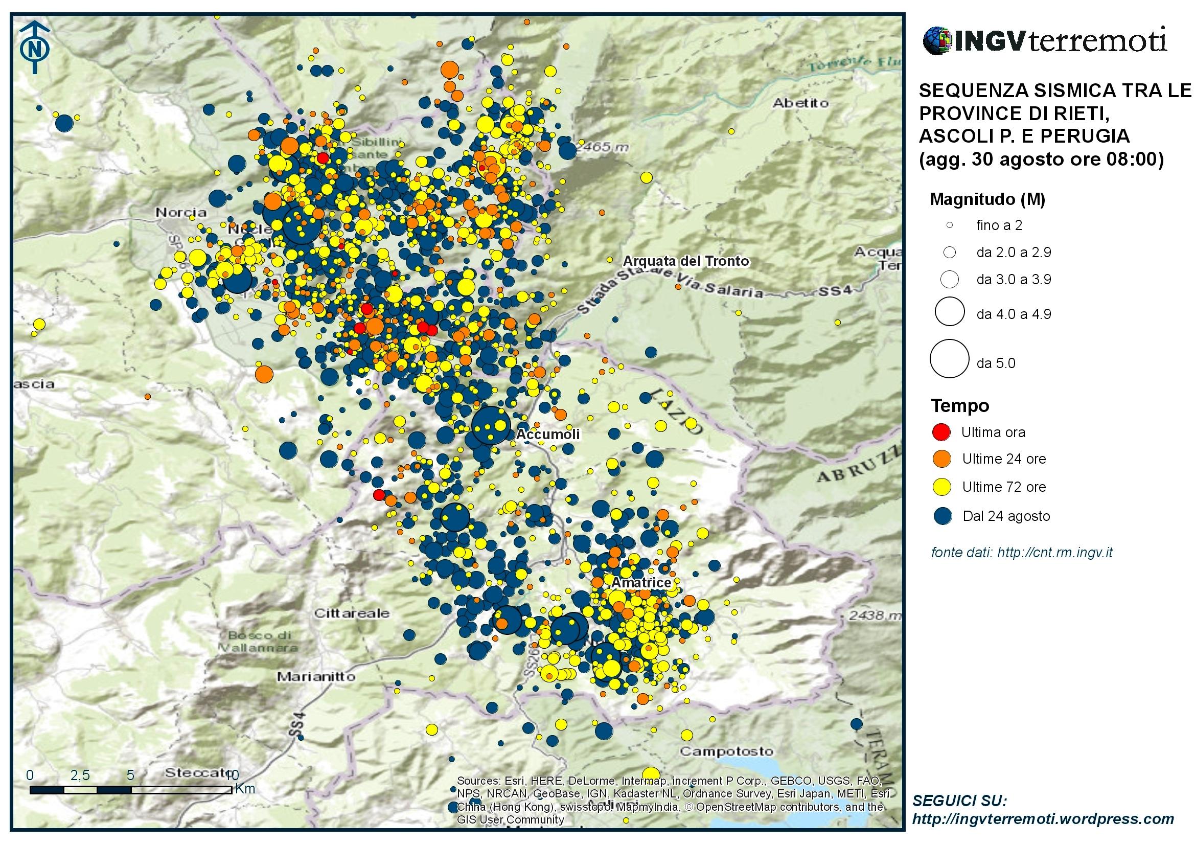 Sequenza sismica province di Rieti, Perugia, Ascoli P., L'Aquila e Teramo: aggiornamento ore 08.00 – 30 agosto
