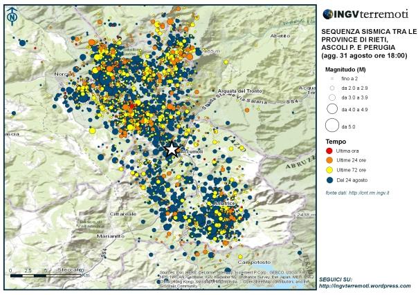 La mappa della sequenza in Italia Centrale aggiornata alle ore 18:00 del 31 agosto.
