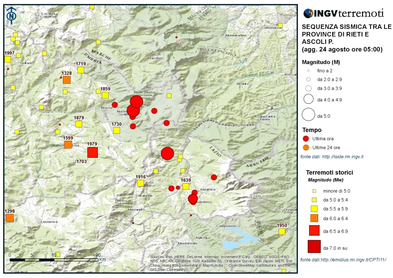 Rieti storica ingvterremoti for Ingv lista terremoti di oggi