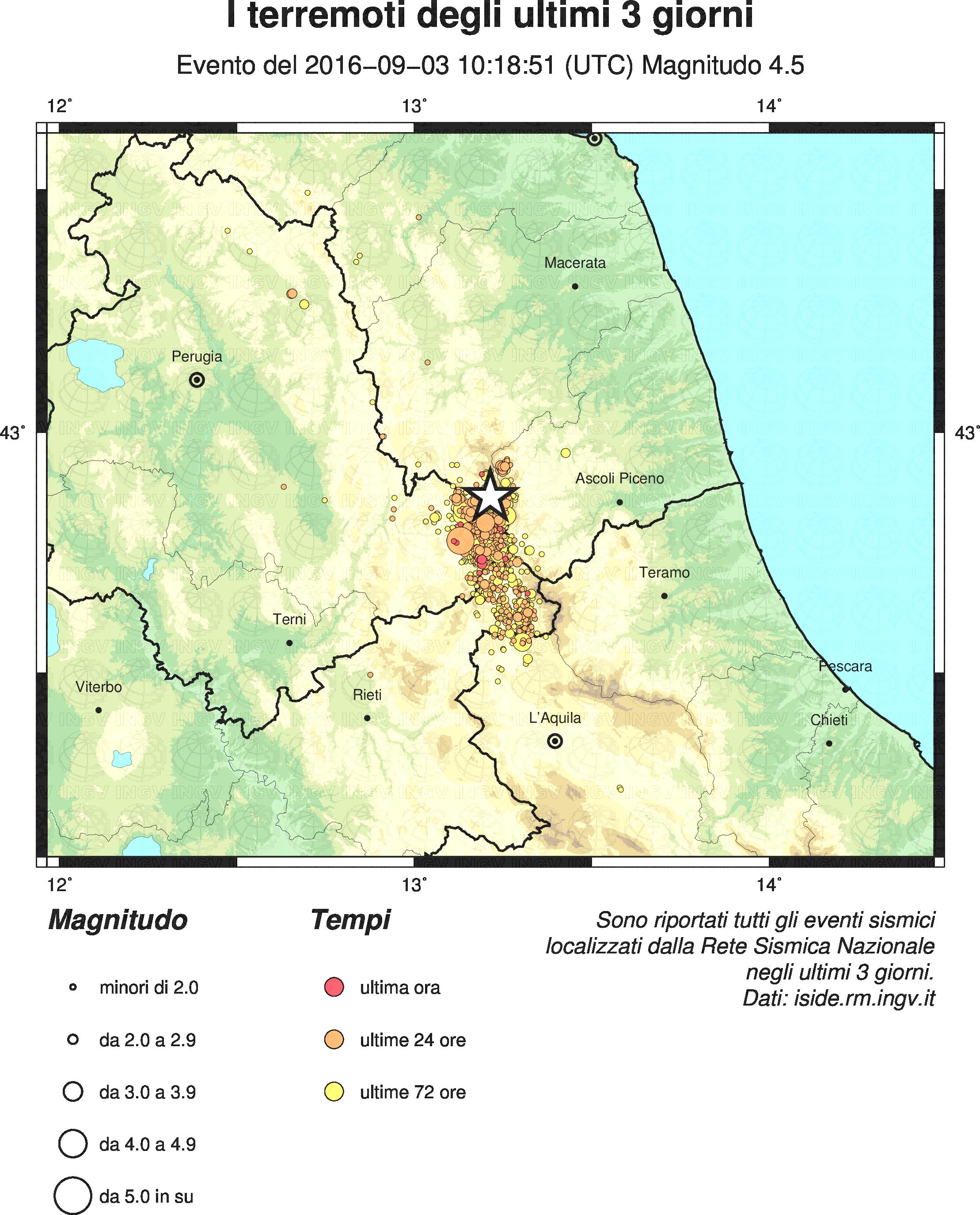 Sequenza sismica in Italia centrale: evento sismico M4.5, ore 12.18 del 3 settembre