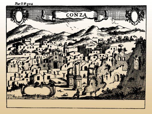 Conza della Campania dopo il terremoto dell'8 settembre 1694 (incisione di Francesco Cassiano de Silva pubblicata in Il Regno di Napoli in prospettiva (1703) di G.B. Pacichelli. Secondo le fonti coeve l'abitato era in pessime condizioni e semispopolato già prima della scossa distruttiva. Il paese ha abbandonato il suo sito antico dopo il terremoto del 1980.