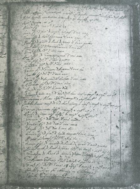 Nota de morti per causa del terremoto sortito ad otto settembre 1694 ad hore 18 trascritta nel registro dei morti conservato nell'Archivio Parrocchiale di S.Canio di Calitri.