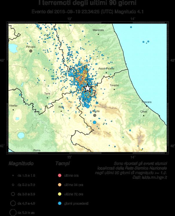 Epicentro del terremoto di questa notte all'1:34, di magnitudo (Richter) 4.1