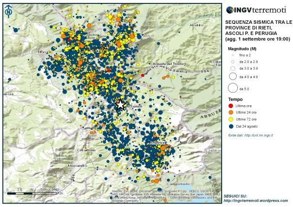 Mappa della sequenza sismica in Italia Centrale aggiornata al 1 settembre alle ore 19.