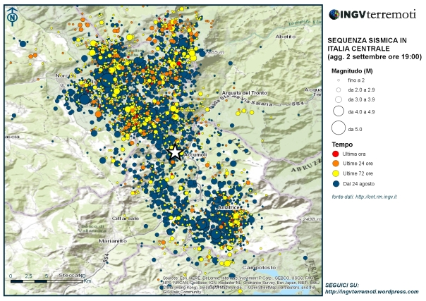 La mappa della sequenza sismica in Italia centrale aggiornata alle ore 19:00 del 2 settembre.
