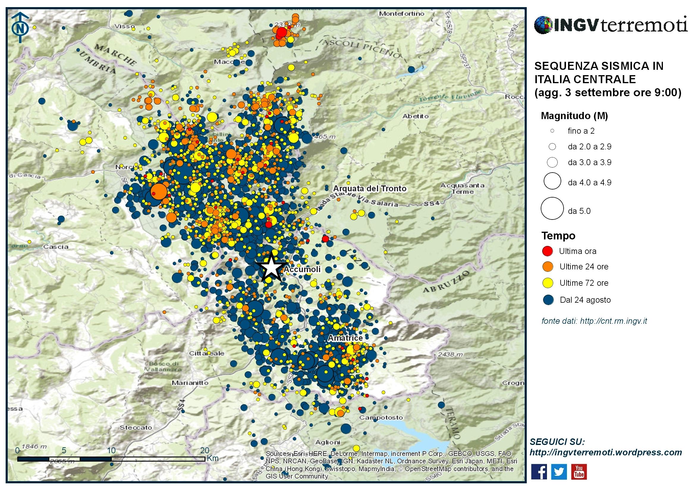 Sequenza sismica in Italia centrale: aggiornamento 3 settembre, ore 9:00