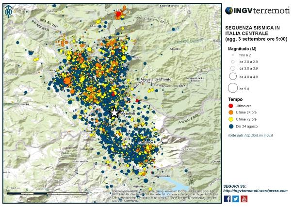 La mappa della sequenza sismica in Italia centrale aggiornata al 3 settembre alle ore 09:00.