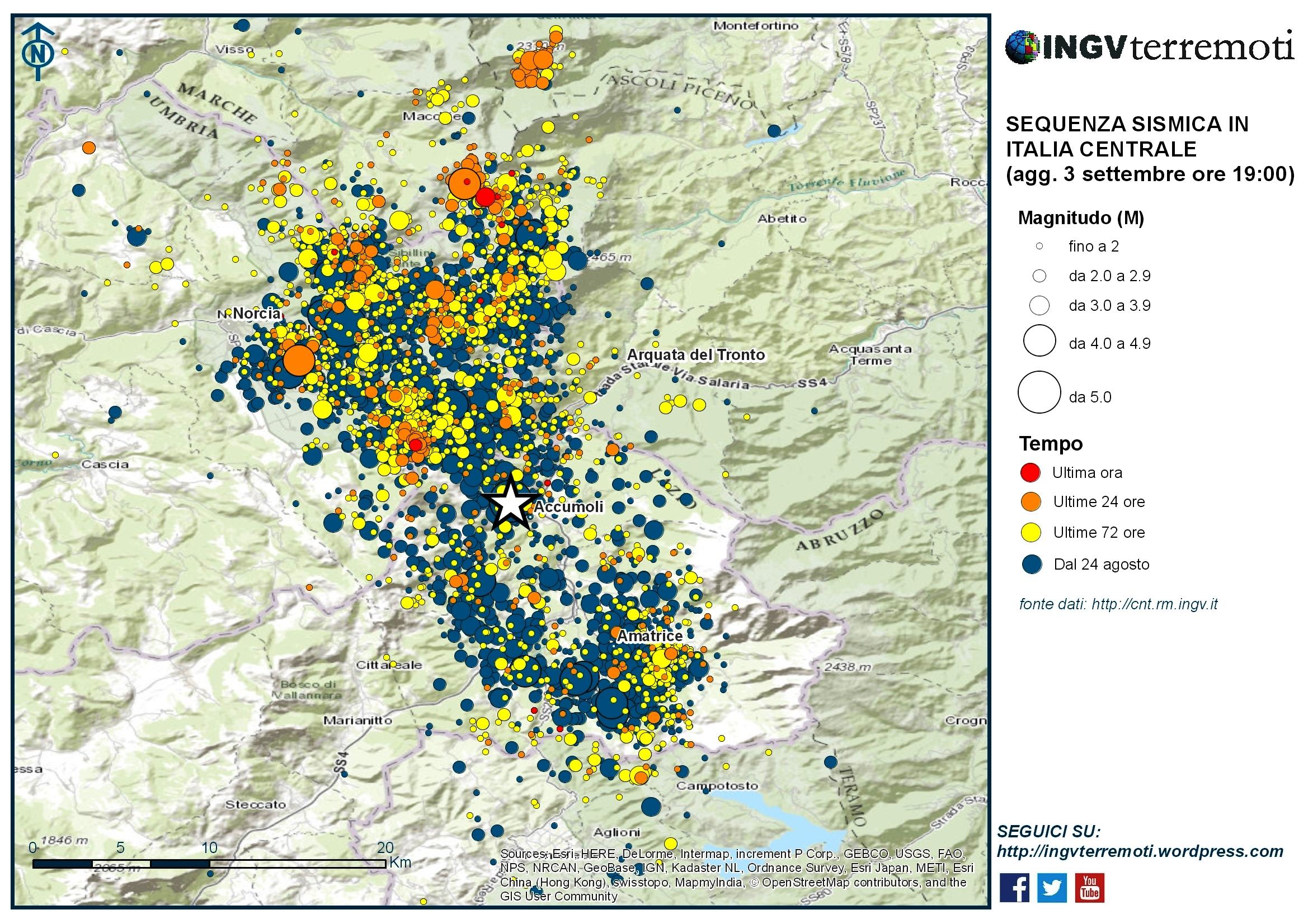 Sequenza sismica in Italia centrale: aggiornamento 3 settembre, ore 19:00