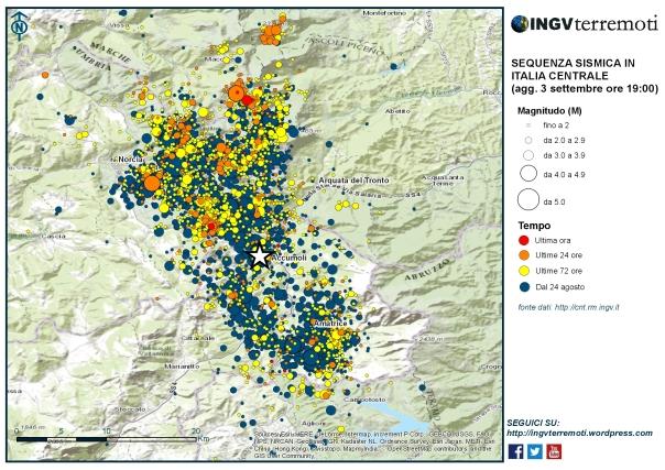 La mappa della sequenza sismica aggiornata alle ore 19:00 del 3 settembre.