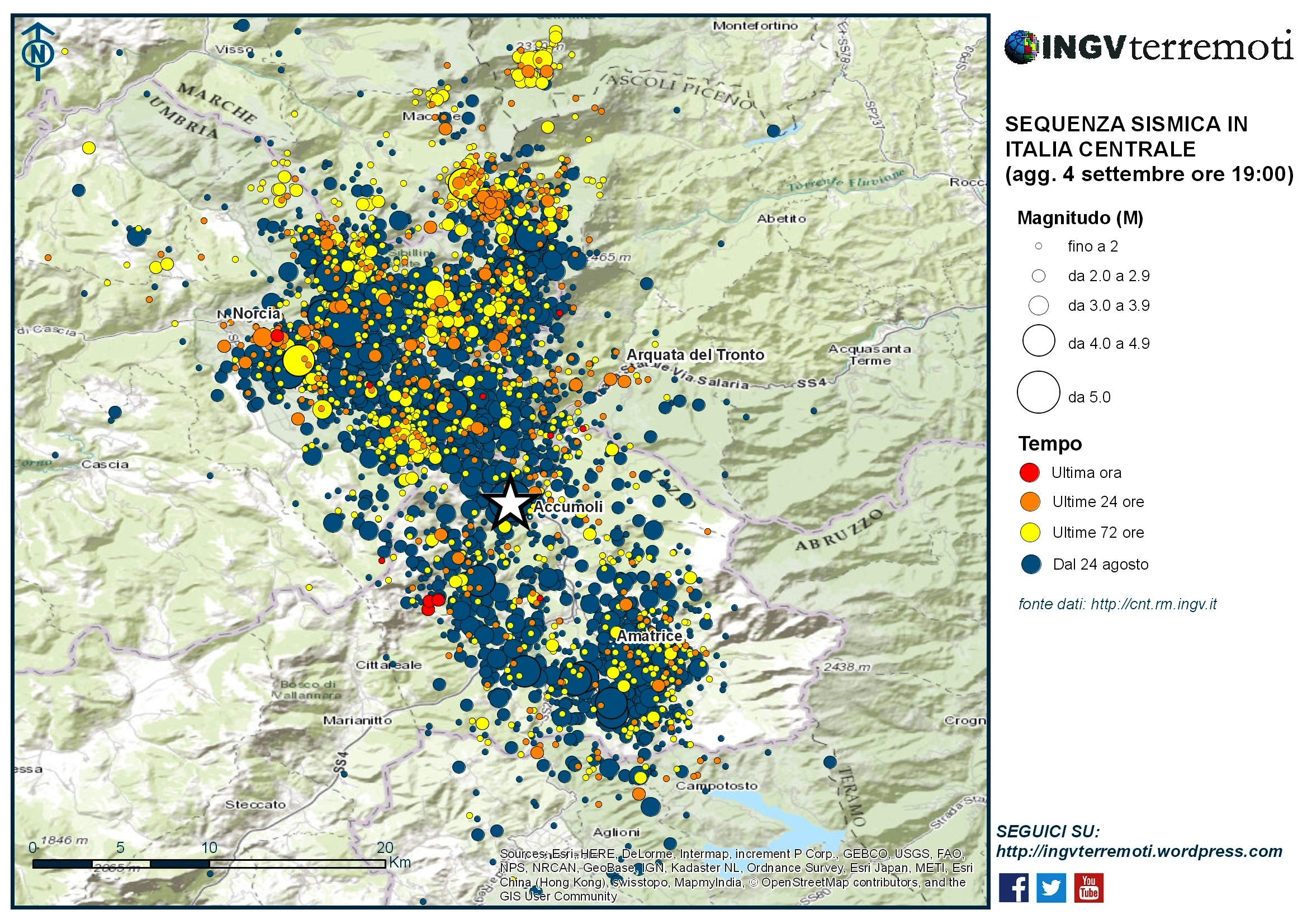 Sequenza sismica in Italia centrale: aggiornamento 4 settembre, ore 19:00