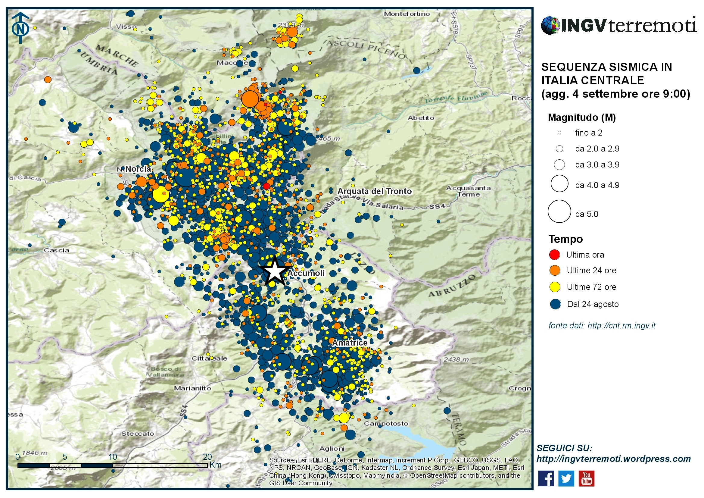 Sequenza sismica in Italia centrale: aggiornamento 4 settembre, ore 9:00