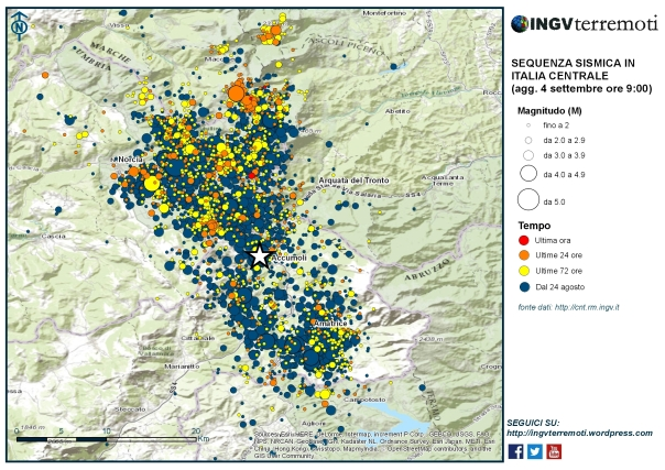 La mappa della sequenza sismica in Italia centrale aggiornata al 4 settembre alle ore 9:00.