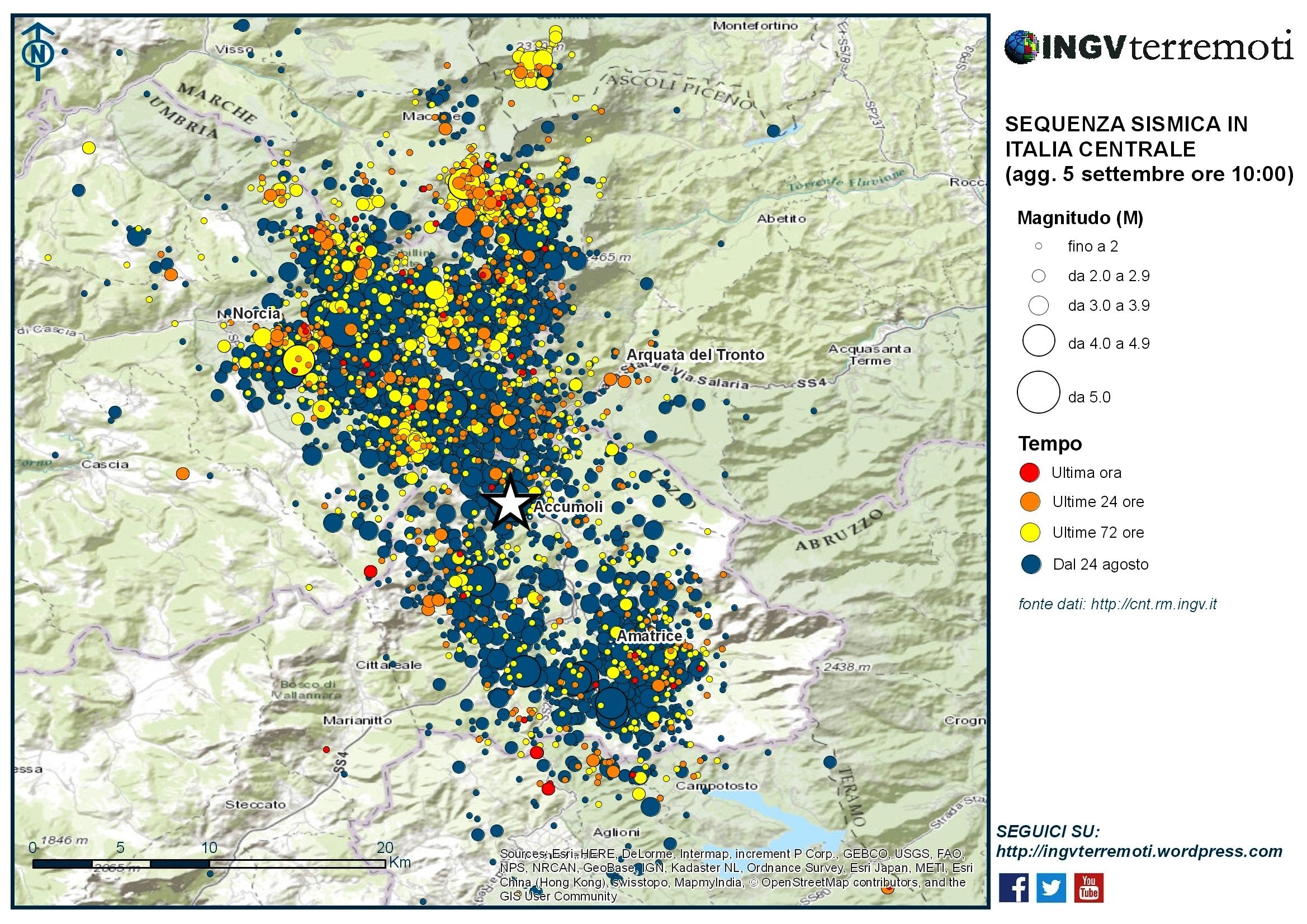 Sequenza sismica in Italia centrale: aggiornamento 5 settembre, ore 10:00