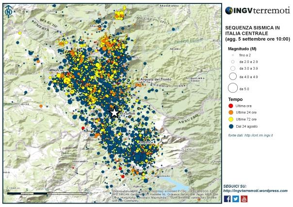 La mappa della sequenza sismica in Italia centrale aggiornata alle ore 10 del 5 settembre.