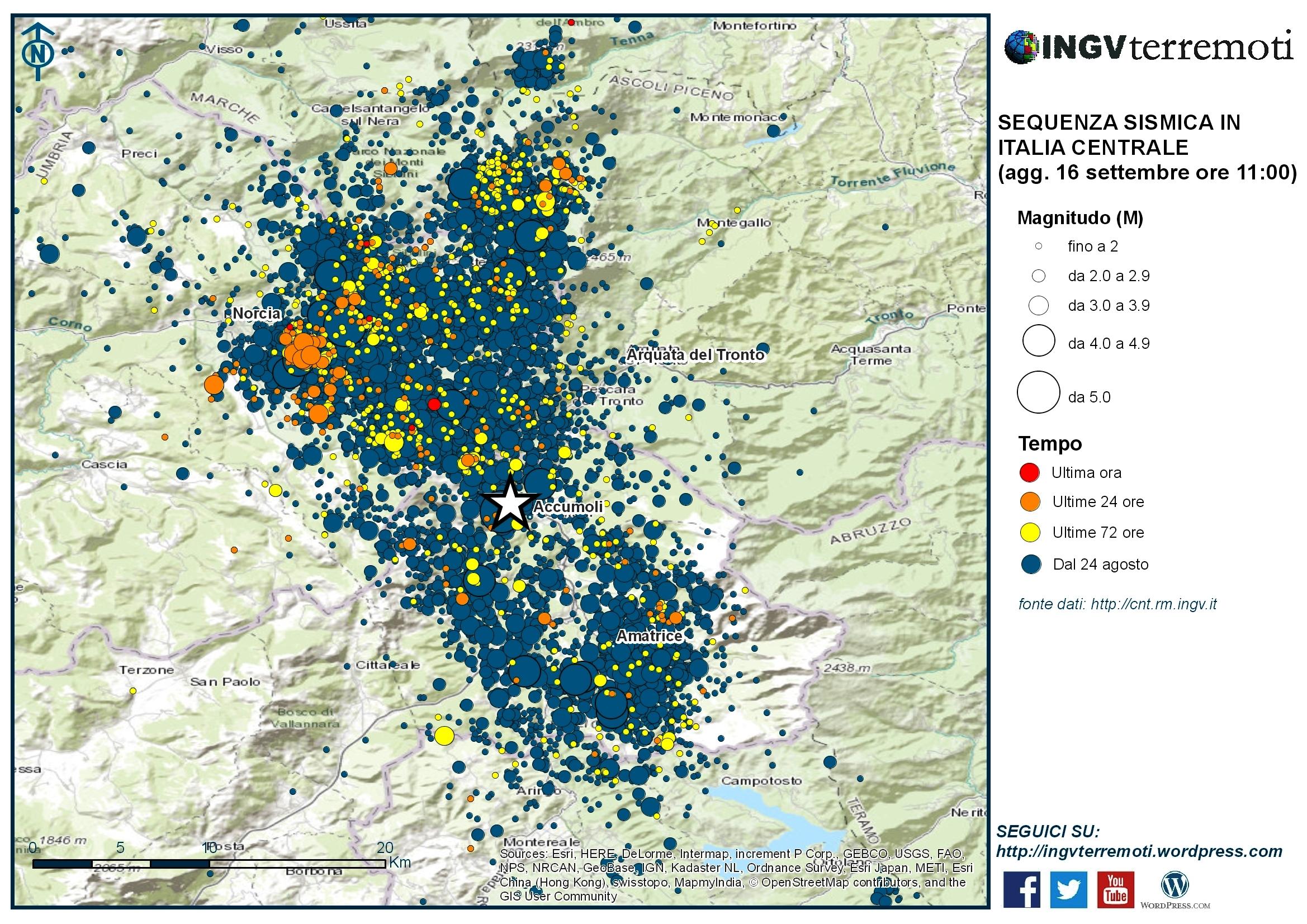 Sequenza sismica in Italia centrale: aggiornamento 16 settembre, ore 11:00