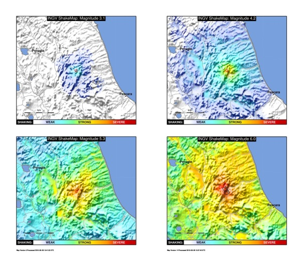 """Figura 2. Medesime mappe di scuotimento della Figura 1 presentate in forma semplificata. In particolare, le mappe evidenziano il livello di scuotimento utilizzando colori vieppiù """"caldi"""" man mano che scuotimento aumenta. La dicitura WEAK-STRONG-SEVERE (debole-forte-severa) consente una rapida valutazione anche del potenziale impatto dell'evento."""