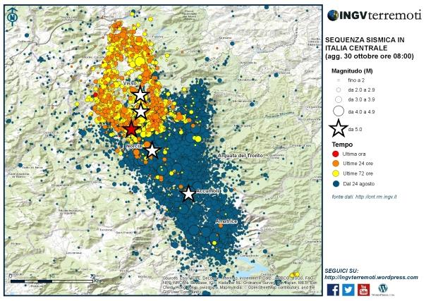 30_ott_2 Sequenza sismica in Italia centrale: nuovo evento di magnitudo 6.5, 30 ottobre 2016, ore 07:40
