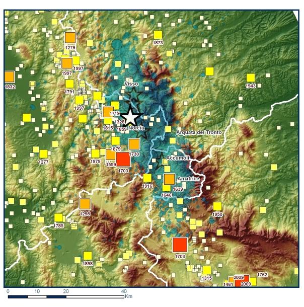 La mappa dell'area della sequenza (la stella rappresenta l'evento del 24 agosto, M 6.0) con i terremoti storici estratti dal Catalogo Parametrico dei Terremoti Italiani (CPTI15).