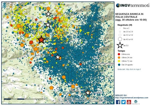 L'area interessata dall'evento di questa mattina alle ore 07:40 di magnitudo 6.5.