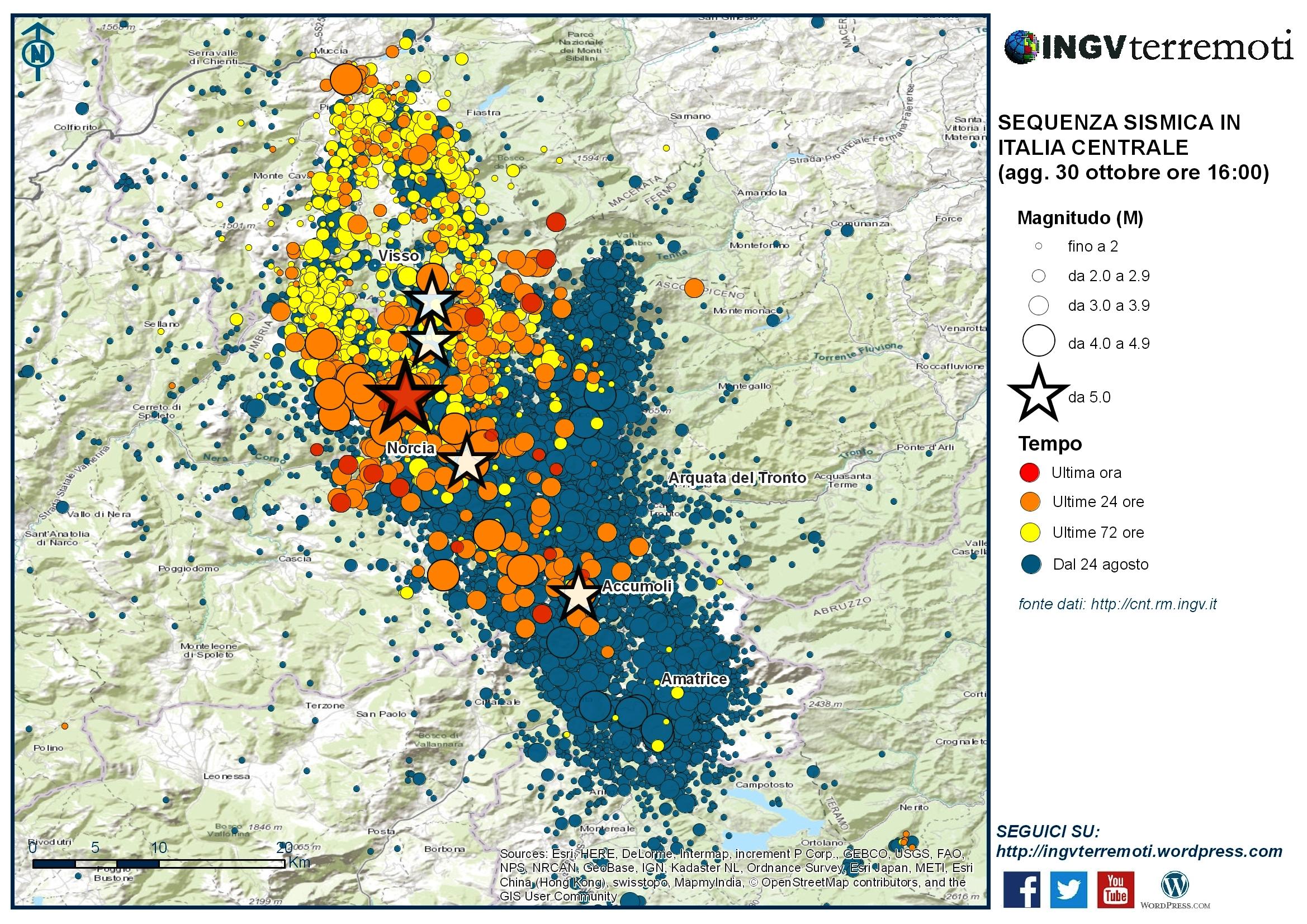 Sequenza sismica in italia centrale approfondimento e for Mappa sismica italia