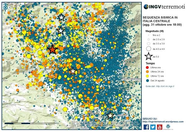 L'area interessata dalle scosse successive al terremoto di ieri alle ore 07:40 di magnitudo 6.5 (l'epicentro è la stella rossa).