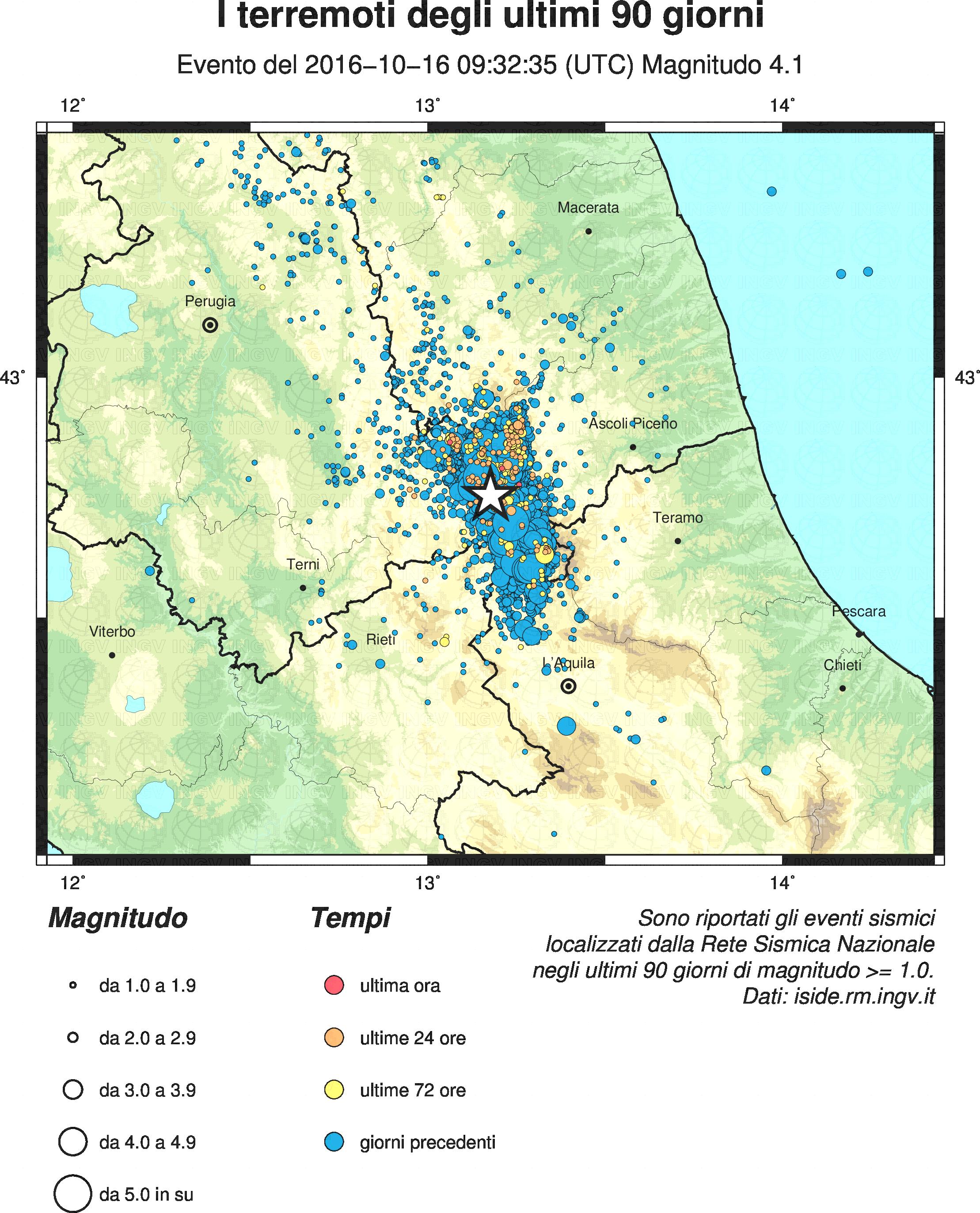 Sequenza sismica in Italia centrale: nuovo evento di magnitudo 4.1 il 16/10/2016 alle 11:32