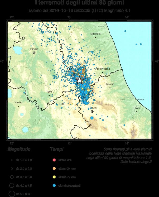 Epicentro del terremoto del 16 ottobre (stella) e sismicità degli ultimi 90 giorni