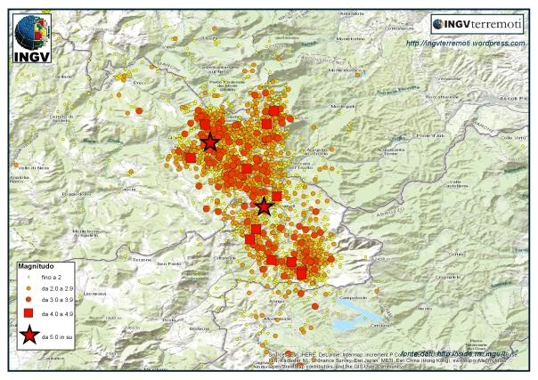La sequenza sismica in Italia centrale nel mese di agosto 2016.