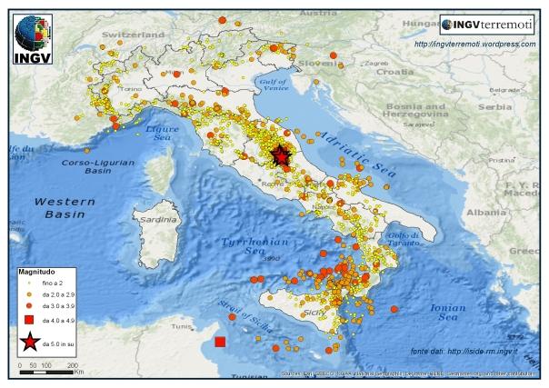 I terremoti registrati dalla Rete Sismica Nazionale dell'INGV durante i 4 mesi estivi del 2016 (giugno, luglio, agosto e settembre).