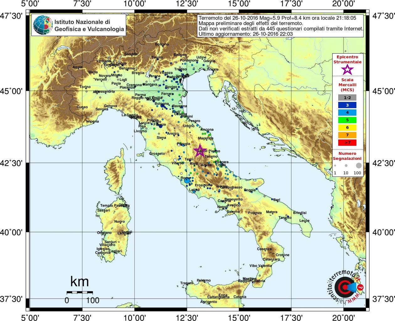 Sequenza sismica in italia centrale aggiornamento del 26 for Ingv lista terremoti di oggi