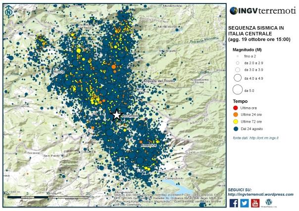 La mappa della sequenza sismica dal 24 agosto 2016.