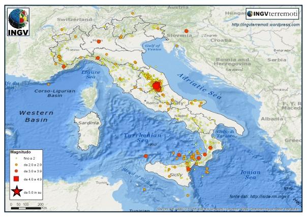 La sismicità localizzata dalla Rete Sismica Nazionale dell'INGV nel mese di settembre 2016.