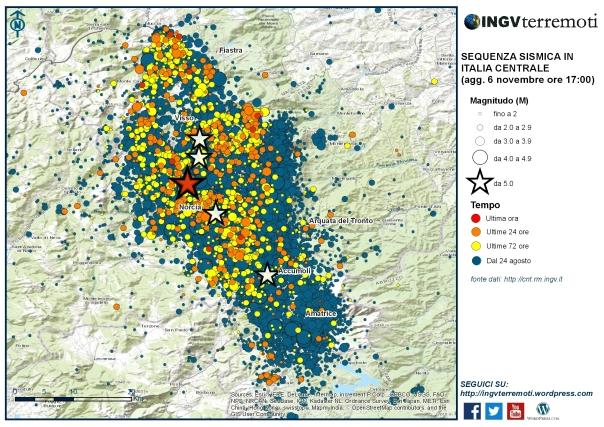 La mappa della sequenza sismica dal 24 agosto.