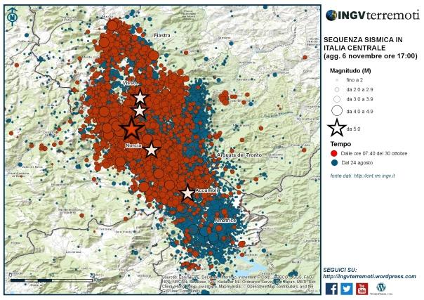 La mappa della sequenza sismica dal 24 agosto: in rosso gli eventi dell'ultima settimana, dalle ore 07:40 del 30 ottobre.