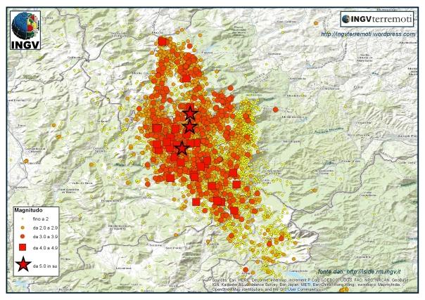 La sequenza sismica in Italia Centrale durante il mese di ottobre.