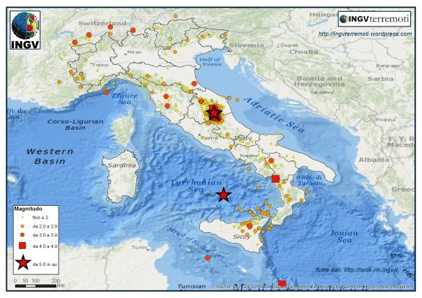 La sismicità localizzata dalla Rete Sismica Nazionale dell'INGV durante il mese di ottobre 2016.