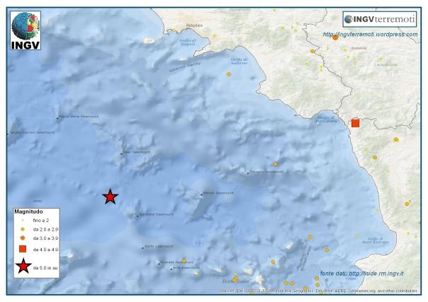 L'area del Mar Tirreno e delle coste campane e lucane interessate dai due eventi di magnitudo
