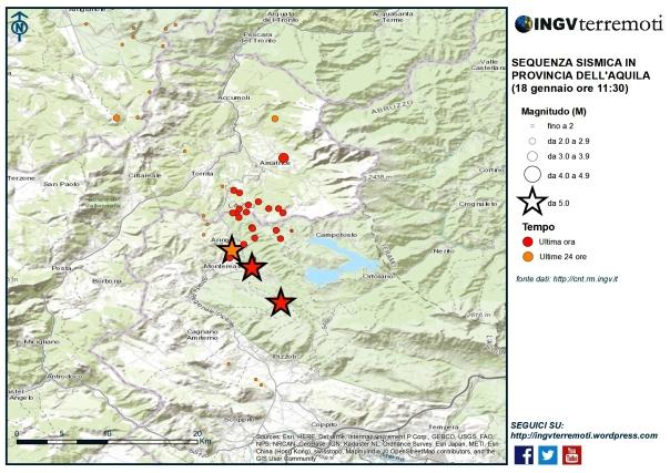 La sismicità delle ultime 24 ore nell'area della Provincia dell'Aquila dove sono stati localizzati i 3 eventi di magnitudo maggiore di 5.