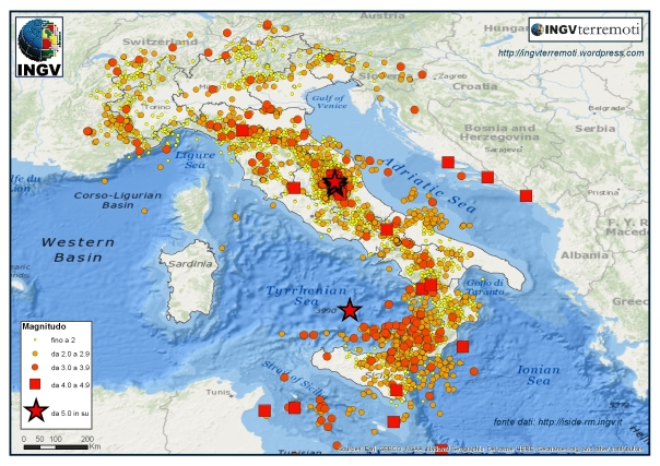 La sismicità in Italia nel 2016.