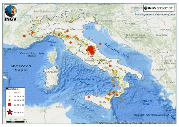 La mappa della sismicità nel mese di novembre 2016.