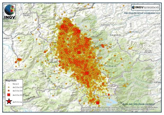 La sequenza sismica in Italia Centrale nel mese di novembre 2016.