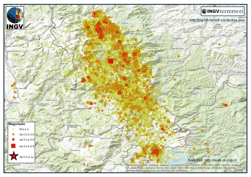 La sequenza sismica in Italia Centrale nel mese di dicembre 2016.