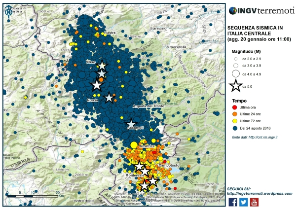 """Terremoti Centro Italia: oltre 47.600 scosse dal 24 agosto, """"sequenza molto attiva tra le province dell'Aquila e Rieti"""" [DATI e MAPPE INGV]"""