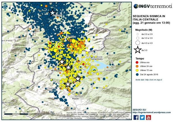 La mappa della sequenza sismica in Italia Centrale centrata sull'area che si è attivata in questi ultimi giorni. Le 4 stelle più i basso rappresentano gli eventi di magnitudo maggior o uguale di 5 avvenuti nella giornata del 18 gennaio 2017.